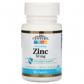 Zinc Chelated 50 mg 60 Tablets / Цинк Хелат