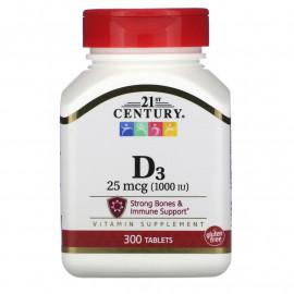 21st Century Витамин D3 25 мкг (1.000 МЕ) 300 таблеток