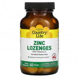 Country Life Zinc Lozenges / Цинк с витамином С, 60 леденцов со вкусом вишни