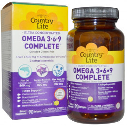 Omega 3-6-9 Complete, Lemon, 90 Softgels / Омега 3-6-9