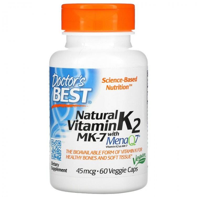 Doctor's Best Витамин K2 MK-7 с MenaQ7, 45 мкг, 60 капсул