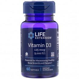 Life Extension Vitamin D3 / Витамин Д-3 125 мкг (5000 МЕ) 60 мягких желатиновых капсул