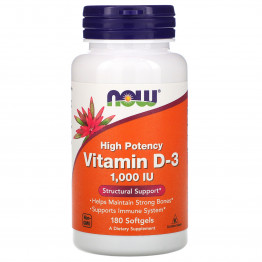 Now Foods Витамин D-3 1000 МЕ 180 мягких таблеток