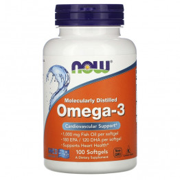 Now Foods Molecularly Distilled Omega-3 / Омега-3 100 Softgels