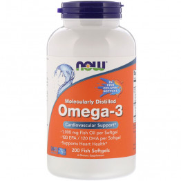 Omega-3 Molecularly Distilled 200 Fish Softgels / Омега-3