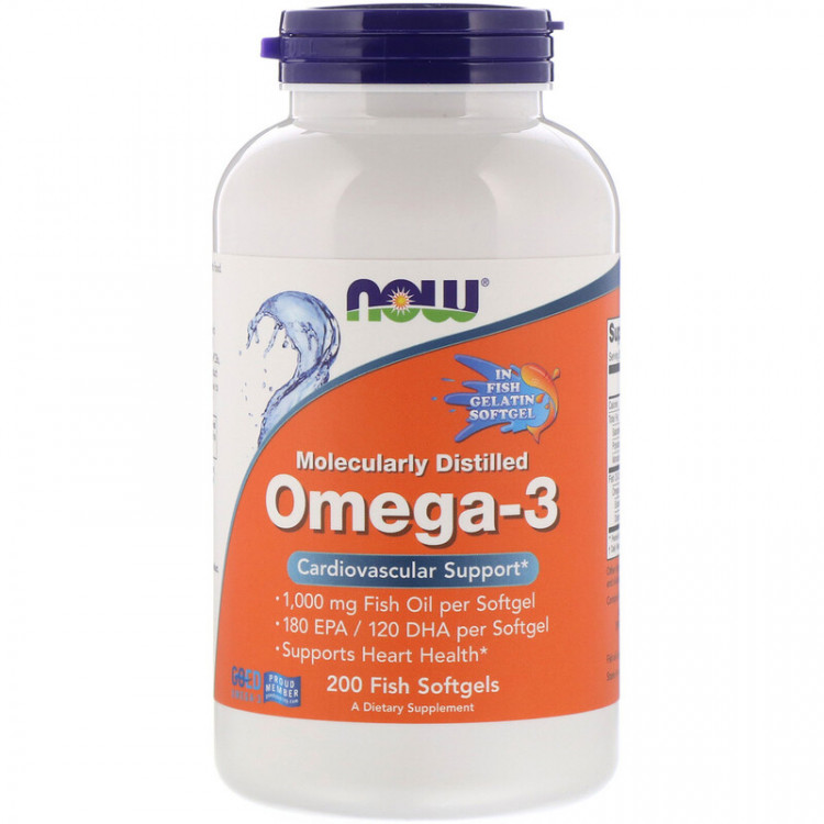 Omega-3 Molecularly Distilled 200 Fish Softgels / Омега-3