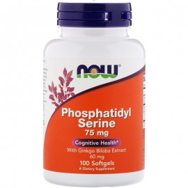 Now Foods Phosphatidyl Serine 75 mg 100 softgels / Фосфатидилсерин с экстрактом гинкго билоба