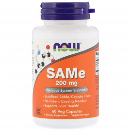 Now Foods SAMe 200 мг 60 вегетарианских капсул / S-аденозил-L-метионин
