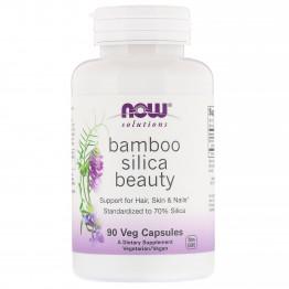Now Foods Solutions Кремний из бамбука для красоты волос кожи и ногтей, 90 капсул