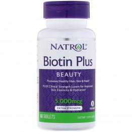 Biotin Plus / Биотин повышенная эффективность 5000 мкг 60 таблеток