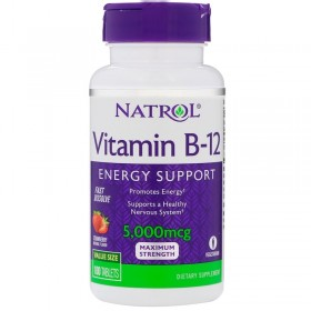 Vitamin B-12 5000 mcg 100 tabs / Витамин Б-12 клубничный аромат