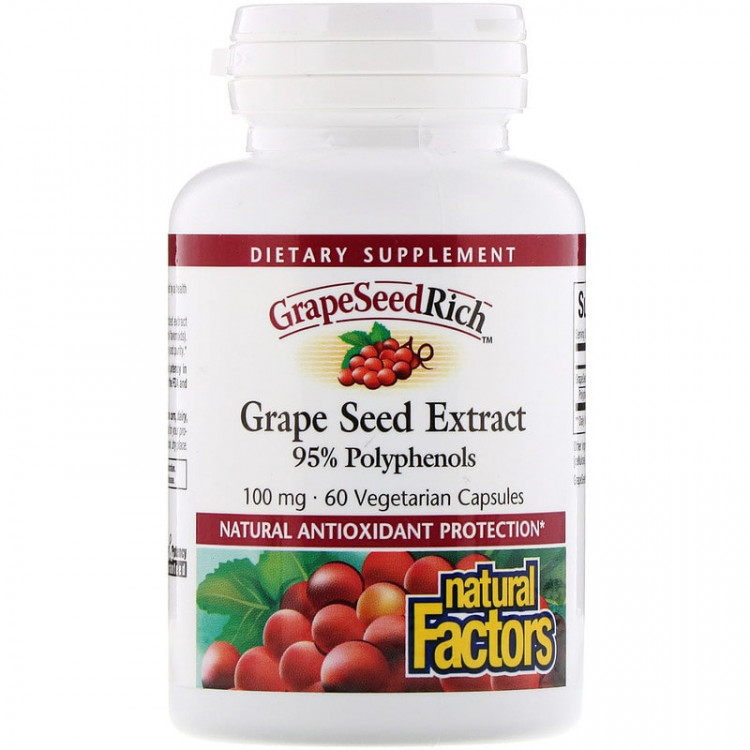 Natural Factors Grape Seed Extract / Экстракт виноградной косточки 100 мг 60 капсул