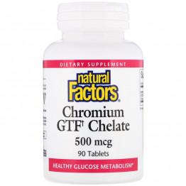 Natural Factors Chromium GTF Chelate / Хелат хрома 500 мкг 90 таблеток