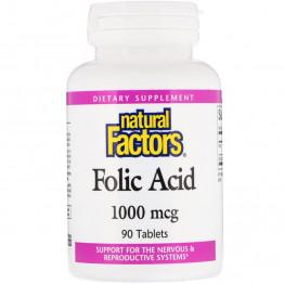 Natural Factors Folic Acid / Фолиевая кислота 1000 мкг 90 таблеток
