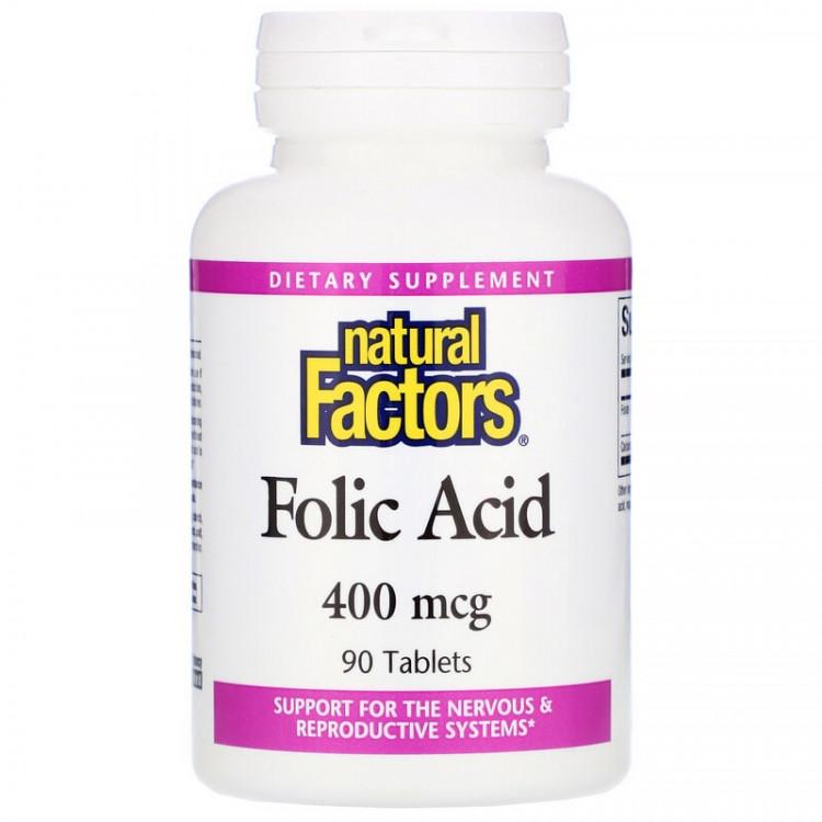 Natural Factors Folic Acid / Фолиевая кислота 400 мкг 90 таблеток