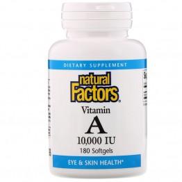 Natural Factors Витамин А 10000 МЕ 180 мягких капсул