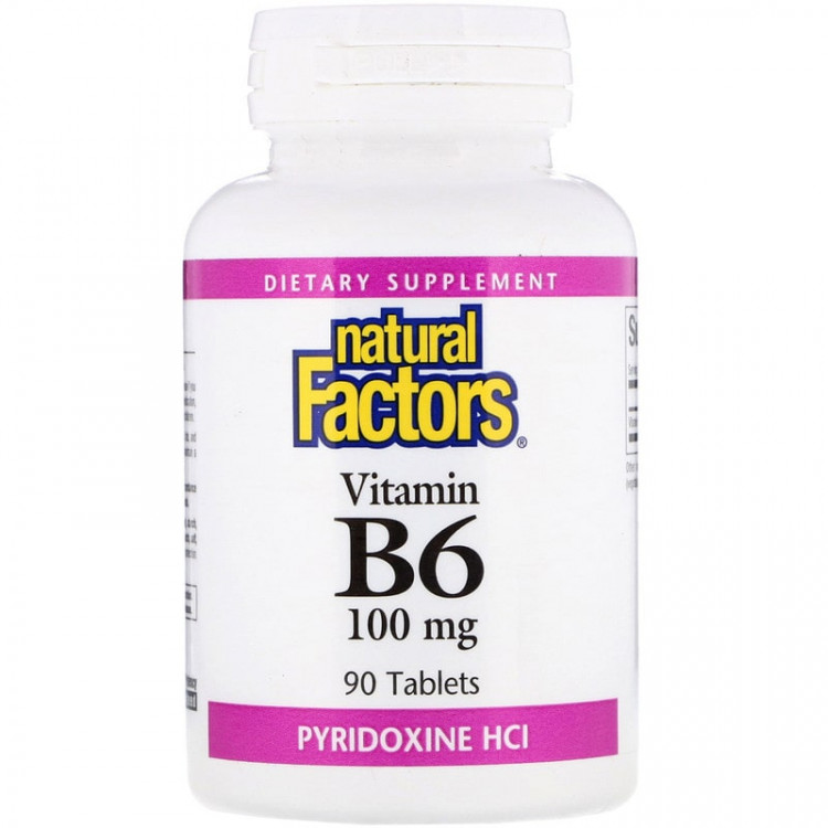 Natural Factors Vitamin B6 / Пиридоксин HCl 100 мг 90 таблеток