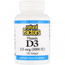 Natural Factors Витамин D3 125 мкг (5000 IU) 120 мягких желатиновых капсул