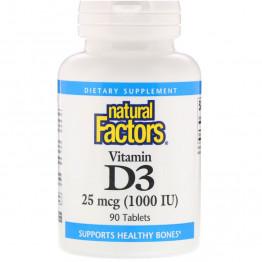 Natural Factors Витамин D3 25 мкг (1000 МЕ) 90 таблеток