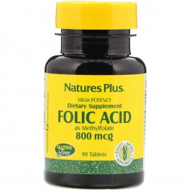 Nature's Plus Folic Acid 800 mcg / Фолиевая кислота 800 мкг 90 таблеток