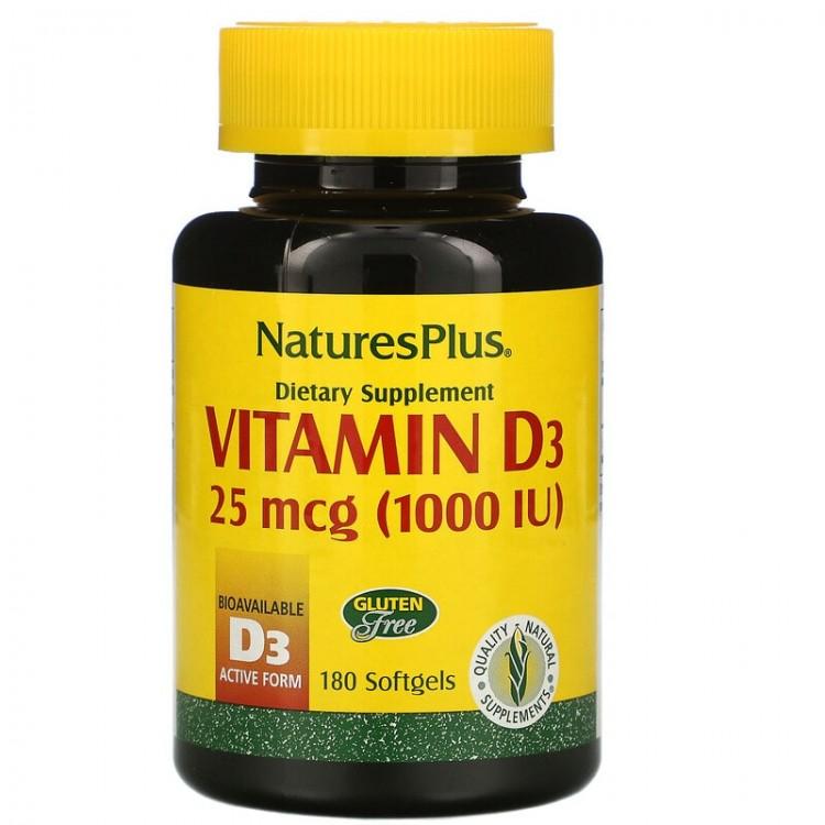 Nature's Plus Vitamin D3 / Витамин D3 25 мкг (1000 МЕ) 180 капсул