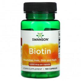 Swanson Biotin 5000 мкг 100 капсул / Биотин