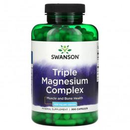 Swanson Triple Magnesium Complex 400 мг 300 капсул / Тройной комплекс магния