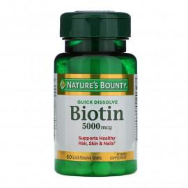 Nature's Bounty Biotin 5000 мкг 60 быстрорастворимых таблеток / Биотин