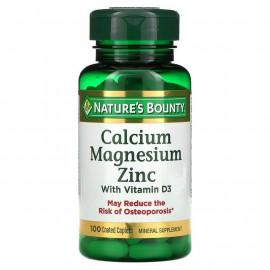 Nature's Bounty, Кальций, магний и цинк с витамином D3, 100 таблеток