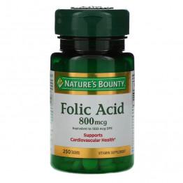 Nature's Bounty, Фолиевая кислота, 800 мкг, 250 таблеток