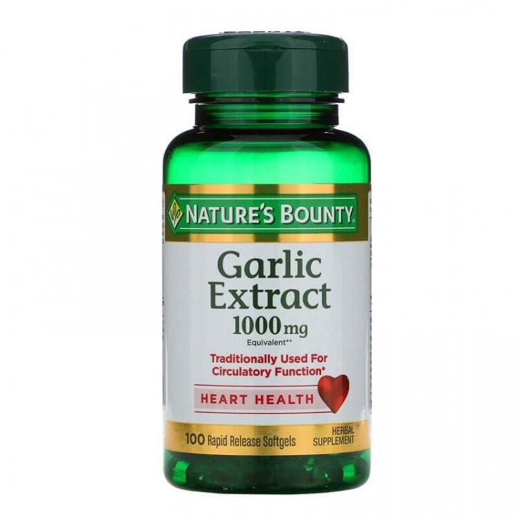 Nature's Bounty, Экстракт чеснока, 1000 мг, 100 мягких таблеток