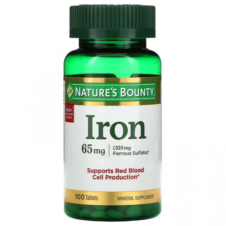 Nature's Bounty Iron, 65 mg 100 Tablets / Железо